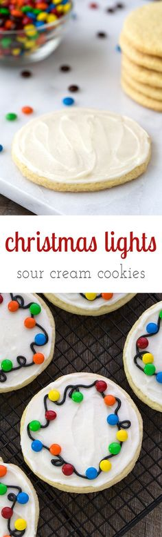 Guaranteed to please kids of all ages, Christmas Lights Cookies are an easy and fun cookie to make for holiday gatherings. Perfect for cookie exchanges! via /https/:///fireflymudpie/ Fun Cookies, Holiday Cookies, Holiday Baking, Christmas Desserts, Holiday Treats, Holiday Recipes, Sugar Cookies, Christmas Recipes, Christmas Treats For Gifts