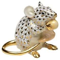 Herend Guild Society Meadow Mouse Gold Fishnet