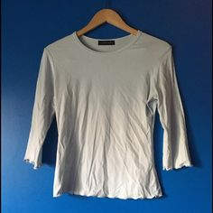 3/4th Sleeve Light Blue Top This top is a very light blue, linda leal brand does not have a size tag best fits a S-M Linda Leal Tops Tees - Long Sleeve