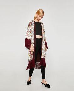 94d2b0c2 ZARA WOMAN 7852/417 $69.90 KIMONO WITH FRINGE Fringe Kimono, Boho Kimono,  Fringe
