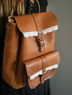 Handmade & Durable Leather Backpack-Shoulder Bag in tobacco brown with Lace