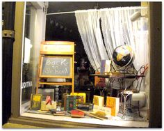 All That's Vintage: Window displays- great back to school vignette. Makes a nice base for endless display possibilities.