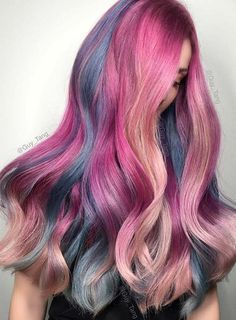 Pastel and Neon Hair Colors in Balayage and Ombre: Mermaid Hair #pastelhair #haircolors #neonhair #rainbowhair