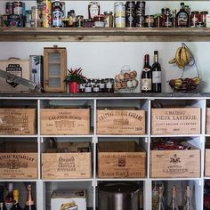 Country pantry using upcycled wine boxes as storage and old scaffolding boards for shelving Saint Emilion Grand Cru, Country Uk, Country Homes, Pantry Inspiration, Council House, Country House Interior, Kitchen Trends, Kitchen Ideas, Pantry Storage