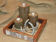 Fencepost candles with horseshoe