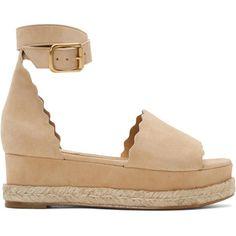 Chloé Beige Suede Lauren Espadrille Sandals ($565) ❤ liked on Polyvore featuring shoes, sandals, beige, platform shoes, woven sandals, chloe shoes, leather sole shoes and espadrilles shoes