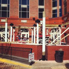 The crew has begun constructing the pergola on the #ariccia patio!