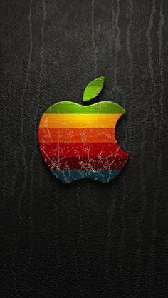 汚れたアップルロゴ iPhone5 スマホ用壁紙