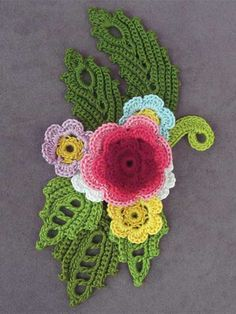 Colorful Irish Crochet flowers and leaves motif