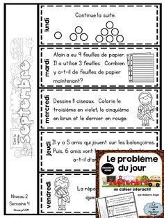 Le problème du jour pour la deuxième année! French Math Problem of the Day for 2nd Grade! Flip book style! $