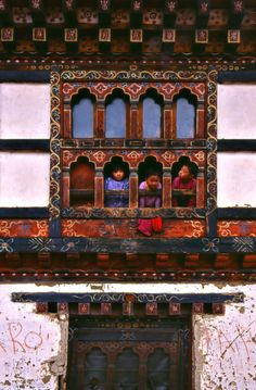 Children in Windows | Bhutan