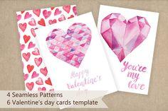 Valentine's day cards template by LarysaZabrotskaya on Creative Market