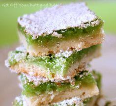 Lime bars (substitute lemon juice for lemon bars)  www.justgetoffyourbuttandbake.com added to PTE