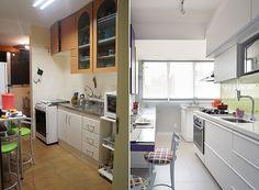 Depois da reforma, lavanderia e cozinha ganharam uma atmosfera mais clara e divertida.