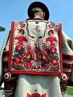 The cifraszűr, or decorated long sleeve cloak of Hungarian sheperds, wealth embroidered by special kind of stitches Hungarian Embroidery, Folk Embroidery, Embroidery Patterns, We Are The World, People Around The World, Costumes Around The World, Folk Costume, My Heritage, Traditional Dresses