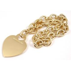 Pre-owned Tiffany & Co. 18K Yellow Gold Heart Tag Charm Bracelet ($2,780) ❤ liked on Polyvore featuring jewelry, bracelets, 18k gold jewelry, gold jewellery, gold jewelry, pre owned jewelry and yellow gold bangle