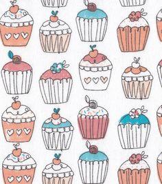 Snuggle Flannel Fabric-Hello Sugar Cupcakes