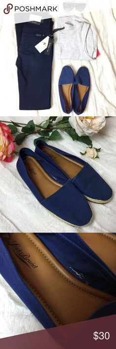 🆕 Lucky Brand Espadrille Blue Canvas Flats Lucky Brand Espadrille Blue Canvas Flat Slip on Shoes. The perfect classic navy canvas slip on flat espadrille! Will add a casual stylish look to any outfit. Heavy navy canvas with rubber sole traction and braided hemp details around bottom soles. Brand new without box. Retails $89. Excellent condition, new without box. All items come from a pet and smoke free studio 👩🏼🎨🎀 Lucky Brand Shoes Flats & Loafers