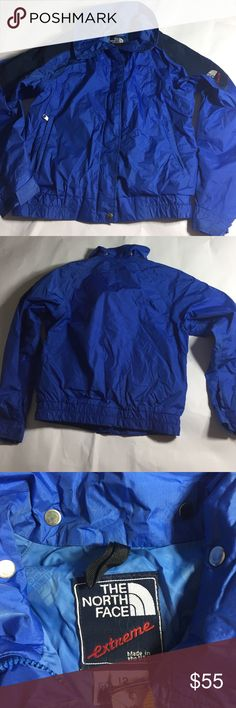 "Vtg The North Face Gore-Tex Ski jacket SZ 12 Blue EUC vintage The North Face Ski jacket. All element working. MISSING hood but still a wonderful addition to outdoor sport equipment. Blue jacket size 12. Measurements/ Bust: 36"" (armpit to armpit, doubled). Shoulder to hem: 23"" Sleeve: 29"" (shoulder to wrist). The North Face Jackets & Coats"
