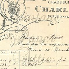 French Document 1901 Antique Grocery Invoice Pretty Graphics and Handwriting from Vintage Paper Attic