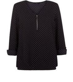Black Polka Dot Print Zip Front Blouse