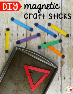 DIY Magnetic Craft Sticks. They are a motivating way to work on shapes, patterns, alphabet letters and so much more! They're great to use as a math center or STEM box in preschool or kindergarten!