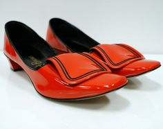 1960s Red and Black Mod Flat Shoes