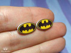 Batman earrings studs by Plushable on Etsy, $8.00