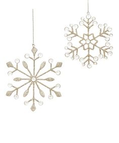 Loving this Beaded Snowflake Ornament - Set of Two on #zulily! #zulilyfinds