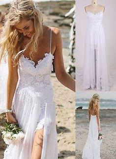 Beach White/Ivory Lace Chiffon Bridal Gown Wedding Dress Custom Size 4 6 8 12 14