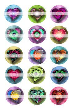 Corazones mágicos hoja de Collage Digital 486 por sweetcolours