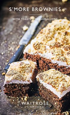 Instead of toasting s'mores on Bonfire Night, try baking our indulgent chocolate brownie with a sweet and sticky toasted marshmallow frosting. Tap for the full Waitrose & Partners recipe. Tray Bake Recipes, Brownie Recipes, Baking Recipes, Cake Recipes, Dessert Recipes, Desserts, Chocolate Brownies Nigella, Chocolate Cakes, Chocolate Treats