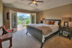 Transitional Master Bedroom with Ambience - Brown Wood Look 1 Light Table Lamp with Cream Shade, Carpet, High ceiling
