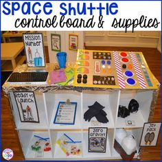 So fun for Exploring Creation with Astronomy! How to make your center into a space station and add math, literacy, and STEM into their play. For preschool, pre-k, and kindergarten. Space Theme Preschool, Space Activities, Preschool Classroom, Preschool Activities, Dramatic Play Area, Dramatic Play Centers, Preschool Dramatic Play, Early Literacy, Math Literacy