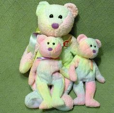 d518d1bb9ee Ty GROOVY Bear LOT Beanie Baby x2   Beanie Buddy Pastels Tye Dye 1999 Plush  Toys  ty