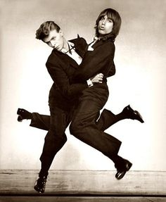 David Bowie & Iggy Pop☆ Latvian-born photographer, Philippe Halsman, who is most famous for his iconic image of Salvador Dali in mid-air with flying cats, disembodied arms, and floating furniture created an immense portfolio of jumping celebrities and public figures.