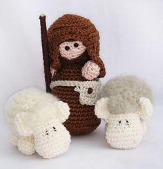 Nativity set: Shepherd and his sheep amigurumi crochet pattern by Woolytoons