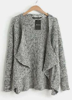 Simple sleeve grey knitting cardigan fashion trend