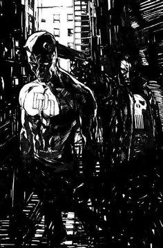 Punisher vs Daredevil by Alex Maleev