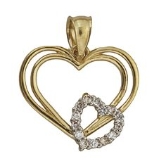 14K Yellow Gold Double Heart Frame W/ CZ Heart Dangling Pendant. 14K SOLID GOLD: This product is made of solid 14K gold and each piece is carefully trademarked with the metal purity for certification. Each piece is stamped 14K or 585 and that guarantees the quality and craft. DESIGN & FINISH: We understand gold and we really understand the manufacturing process of precious metal. Each piece is carefully designed to create a treasure that will last a lifetime. These jewels make a great…
