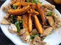 Poulet-Süsskartoffel-Salat mit Orangen-Dressing  Freunde am Kochen Orange, Carrots, Shrimp, Low Carb, Dressing, Meat, Vegetables, Food, Salads