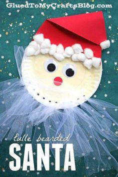 Tulle Beard Santa - Paper Plate Christmas Kid Craft Idea - Holiday DIY