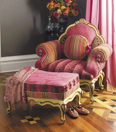 The Diva Chair and Ottoman take pink to new heights. | MacKenzie-Childs
