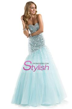 2014 Prom Dress Sequined Corset Tulle Sweetheart Mermaid Floor Length US$199.99 STPGYM3HKP - StylishPromDress.com