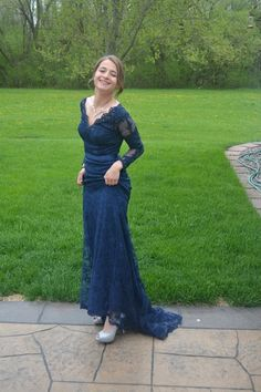 Navy Blue V-Neck Prom Dresses,Mermaid Applique Lace Prom Dresses,Long Sleeves Evening Dresses CR 11466 Long Sleeve Evening Dresses, V Neck Prom Dresses, Prom Dresses Long With Sleeves, Mermaid Prom Dresses, Bride Dresses, Dress Long, Blue V, Pretty Dresses, Elegant Dresses