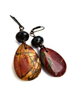 Teardrop Jasper & Quartz gemstone dangle earrings. Boho jewelry. bohemian, stone earrings. red, green, brown, jewelry. woodland