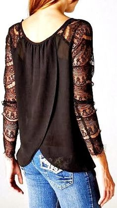 Black Lace Sleeve Wrap Style Shirt Top Holiday Christmas Style #UNIQUE_WOMENS_FASHION