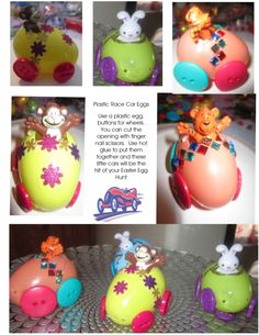 Plastic Egg Race Cars - Great craft project for the kids and fun to hide along with the Easter Eggs for a special surprise! LynnDavisCakes.com