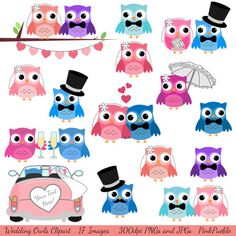 Too Stinking Cute!    Wedding Owls Clipart Clip Art, Love Birds Marriage Clipart Clip Art - Commercial and Personal. $6.00, via Etsy.