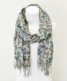 Another great find on #zulily! Blue & Cream Vintage Floral Scarf by Leto Collection #zulilyfinds
